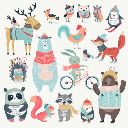 animales del bosque: Navidad conjunto con animales divertidos, estilo dibujado a mano. Ilustración del vector. Vectores