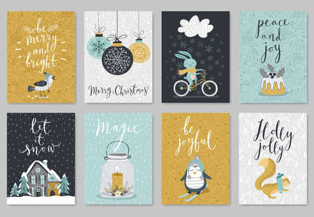 postcards: Christmas card set, hand drawn style. Vector illustration.