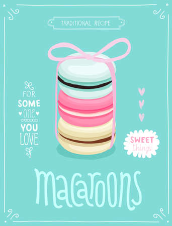Macaroons Poster - template for your design. Vector illustration. Illustration