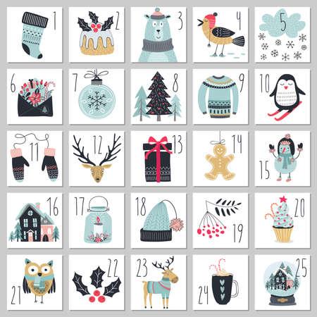 Calendario di avvento di Natale, stile disegnato a mano. Illustrazione vettoriale.