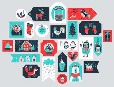 advent calendar: Christmas advent calendar, hand drawn style. Vector illustration. Illustration