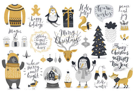xmas background: Christmas set, hand drawn style - calligraphy, animals and other elements. Vector illustration.