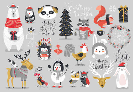 서예, 동물 및 기타 요소 - 크리스마스, 손으로 그린 스타일을 설정합니다. 벡터 일러스트 레이 션.