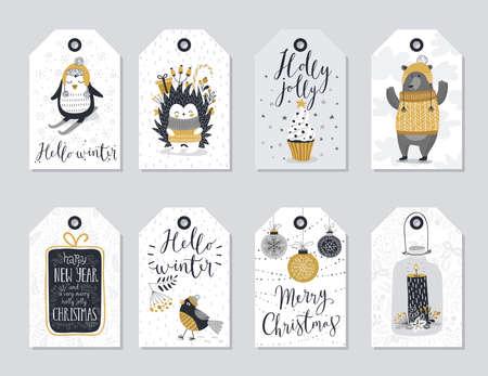 cute bear: Christmas tags set, hand drawn style. Vector illustration.
