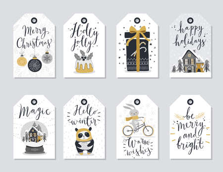 christmas gift: Christmas tags set, hand drawn style.Vector illustration.