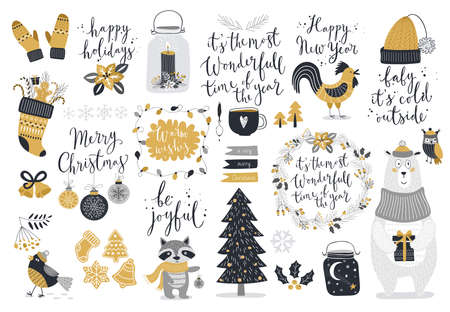 Christmas set, hand drawn style - calligraphy, animals and other elements. Vector illustration.