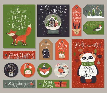 christmas backgrounds: Christmas cards and tags set, hand drawn style. Vector illustration.