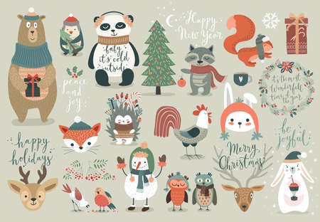 winter tree: Christmas set, hand drawn style - calligraphy, animals and other elements. Vector illustration.