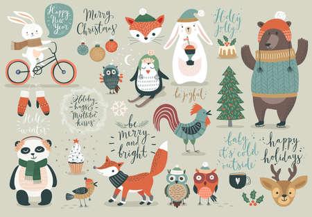 크리스마스 세트, 손으로 그려 스타일 - 달 필, 동물 및 기타 요소. 벡터 일러스트 레이 션. 일러스트