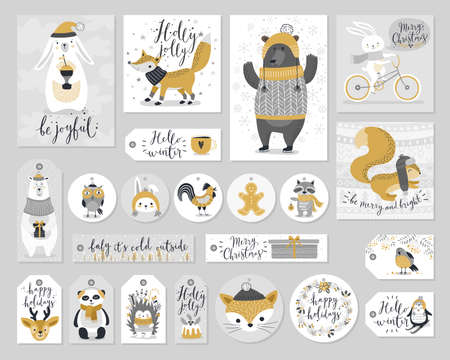 cute cards: Christmas set, hand drawn style - calligraphy, animals and other elements.