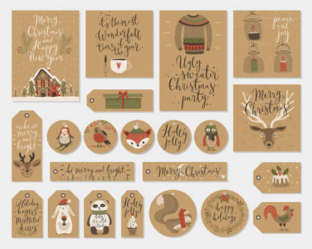paper tags: Christmas kraft paper cards and gift tags set, hand drawn style. Vector illustration. Illustration