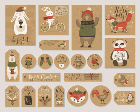 Christmas kraft paper cards and gift tags set, hand drawn style. Vector illustration. Stock Illustratie