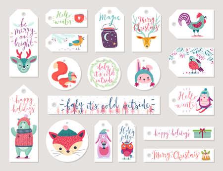 Christmas gift tags set, hand drawn style. Vector illustration.