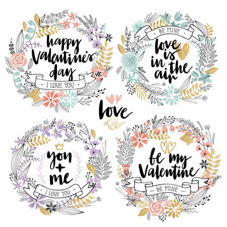 illustration abstract: Valentine`s Day Callygraphic Floral set - hand drawn Vector illustration.
