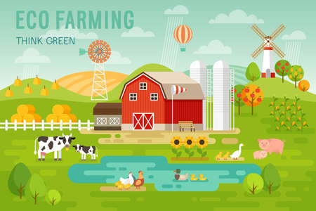Eco Farming concept with house and farm animals. Vector illustration. Stock Illustratie