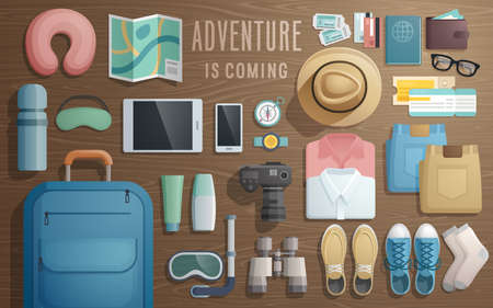 businesses: Travel accessories prepared for the trip on wooden background. Vector illustration.