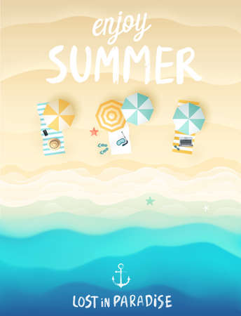 Poster da praia tropical. Ilustra