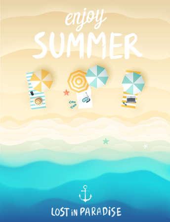 rozradostněný: Tropický plážový plakát. Vektorové ilustrace.