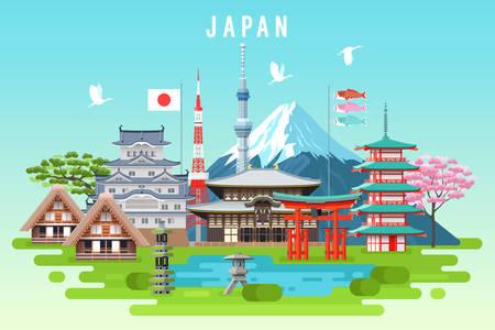 일본 여행 infographic. 벡터 여행 장소와 랜드 마크.