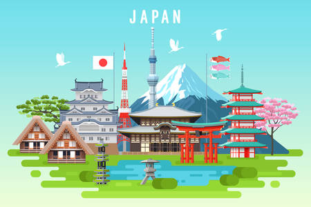 Japan travel infographic. Vector travel places and landmarks. Çizim