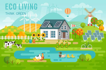 Eco living landscape with eco house and farm animals. Vector illustration.
