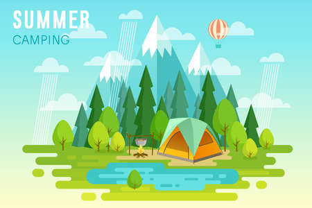 couple hiking: Summer Camping graphic poster. Vector illustration.