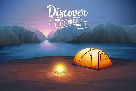 Discover the world poster, night landscape with tent. Vector illustration.