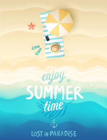 view: Tropical beach poster. Vector illustration.