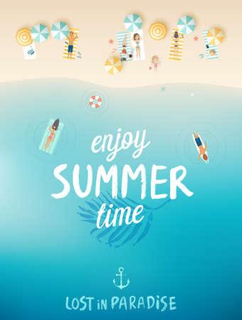 viaggi: Poster tropicale sulla spiaggia, Godetevi l'estate. Illustrazione vettoriale. Vettoriali