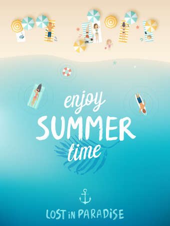 Tropical beach poster, Enjoy summer. Vector illustration.
