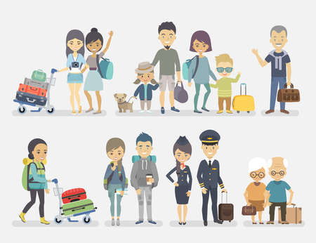 communication icons: Traveling people, family, friends, couple, seniors, adventurers with baggage. Vector illustration. Illustration