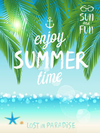 flyer background: Tropical beach poster, Enjoy summer. Vector illustration.