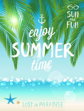 Tropical beach poster, Enjoy summer. Vector illustration.