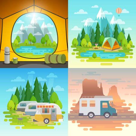 Campingkoncept, tält, husvagn, hus på vägar. Vektor illustration. Stockfoto - 73619939