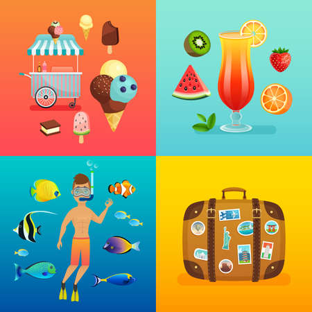 Summer set with ice cream, cocktails, suitcase, snorkeling and tropical fish.