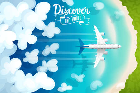 postcard: Passenger plane flying above clouds and tropical beach, travel poster. Vector illustration.