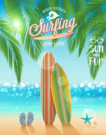 postcard: Surfing poster with tropical beach background. Vector illustration.