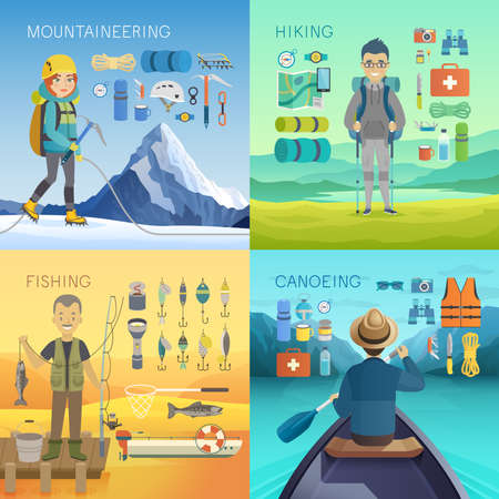 mountaineering: Camping, Hiking, Mountaineering, Fishing, Canoeing concepts. Vector illustration. Illustration