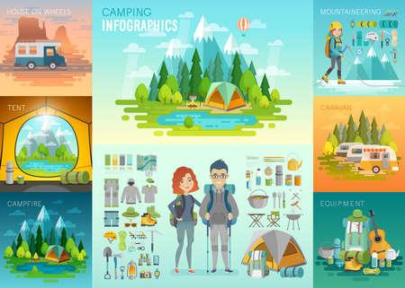 mountaineering: Camping Infographic, mountaineering, caravan, house on weels, equipment. Vector illustration.