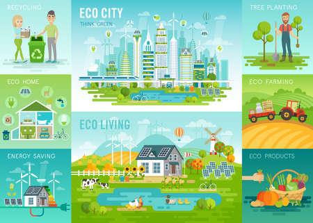 Eco set, reciclaje, plantación de árboles, ahorro de energía, temas de agricultura ecológica. Ilustración del vector. Ilustración de vector