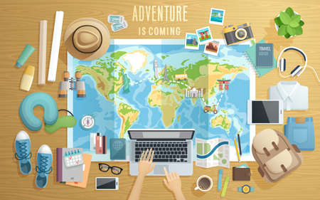 Preparing for the trip, Travel accessorieson wooden background. Vector illustration. 일러스트