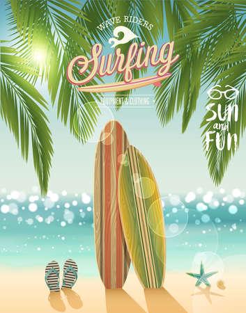 Surfing plakat z tropikalnej plaży tle. Ilustracji wektorowych. Ilustracje wektorowe