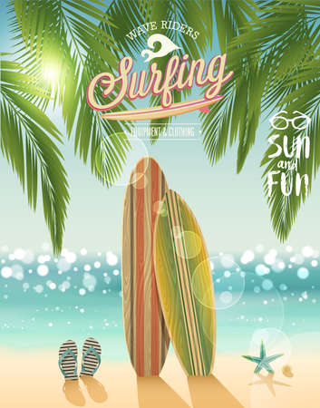 Surfing poster with tropical beach background. Vector illustration.