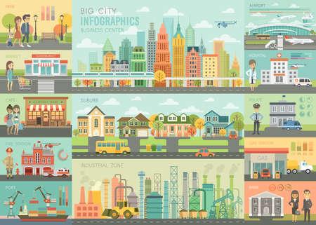 Vie de la ville L'ensemble d'infographie avec des tableaux et d'autres éléments. Illustration vectorielle. Banque d'images - 80194351