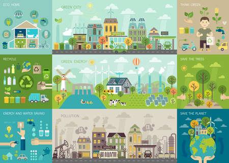緑豊かな街インフォ グラフィックは、グラフおよびその他の要素を設定します。ベクトルの図。  イラスト・ベクター素材