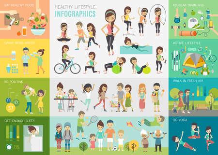 Ensemble infographique de style de vie sain avec tableaux et autres éléments. Illustration vectorielle.