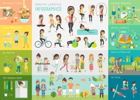 infochart: Healthy lifestyle infographic set with charts and other elements.Vector illustration.