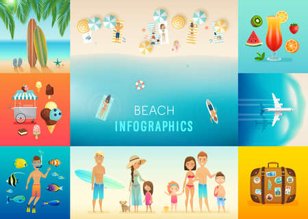 Beach set with concepts of snorkeling, surfing, travel and others. Vector illustration.