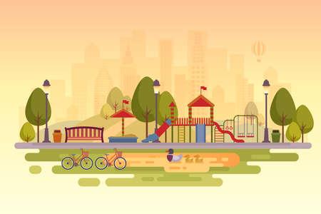Stadspark met speeltuin. Zonsondergang achtergrond. Vector illustratie.