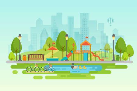 Parc de la ville Décor extérieur urbain, éléments parcs et allées Illustration vectorielle.